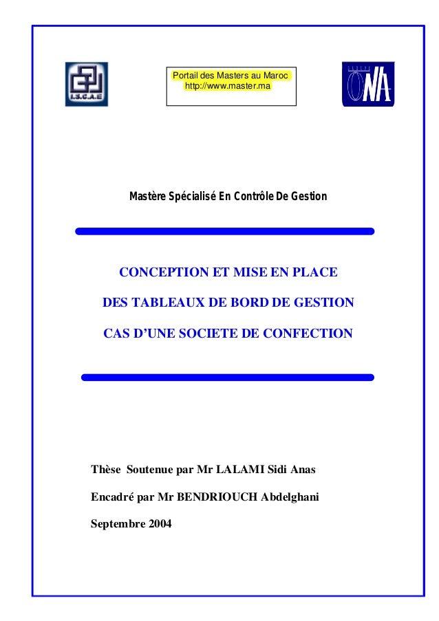 Mastère Spécialisé En Contrôle De GestionCONCEPTION ET MISE EN PLACEDES TABLEAUX DE BORD DE GESTIONCAS D'UNE SOCIETE DE CO...