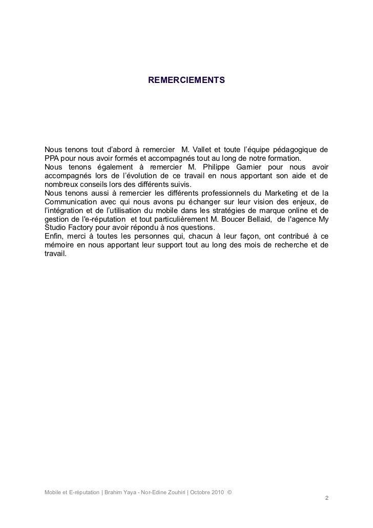 Memoire sur l'impact du web mobile sur la gestion de l'e-reputation des marques - Nor-Edine ZOUHIRI - Brahim YAYA Slide 2