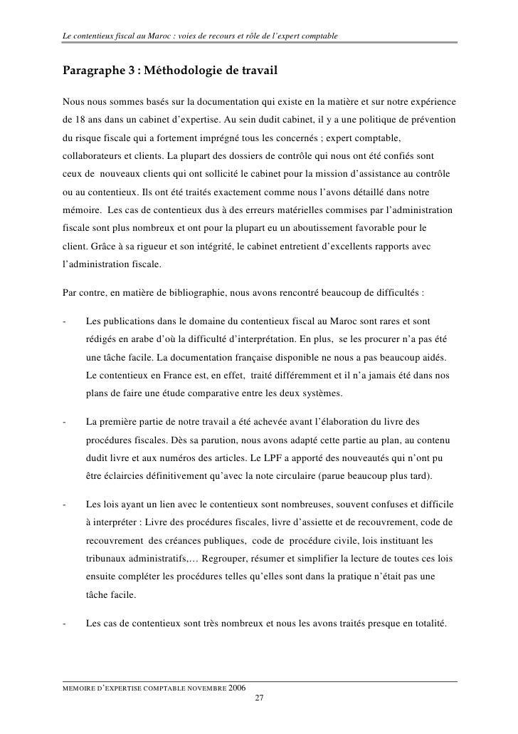 Memoire contentieux fiscal maroc - Travailler en cabinet d expertise comptable ...