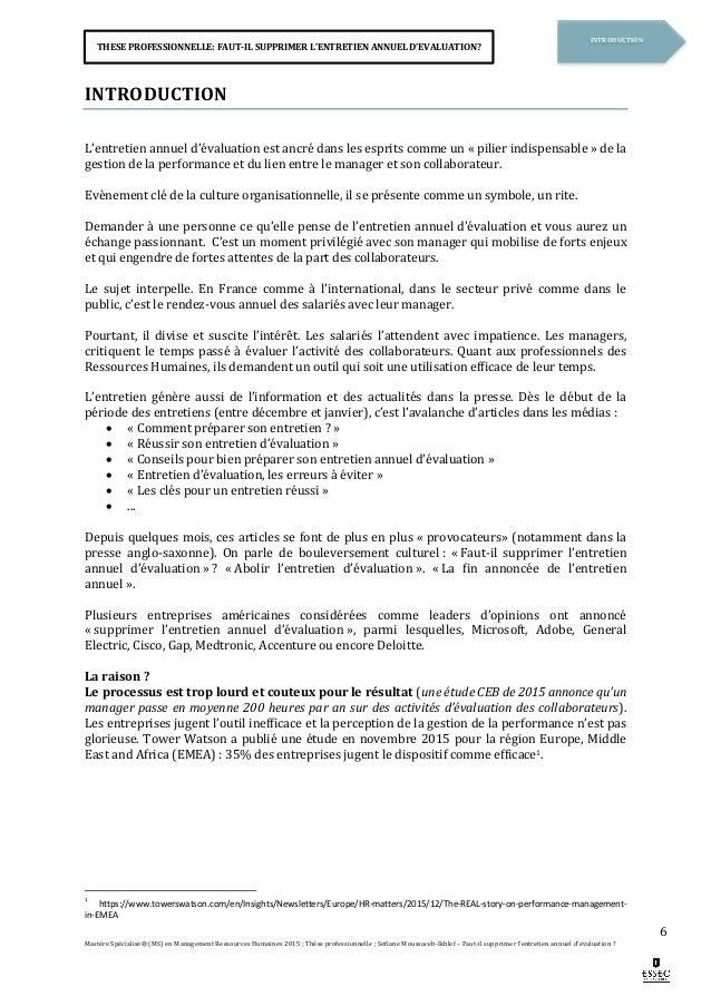Memoire Faut Il Supprimer L Entretien Annuel D Evaluation Par Sof