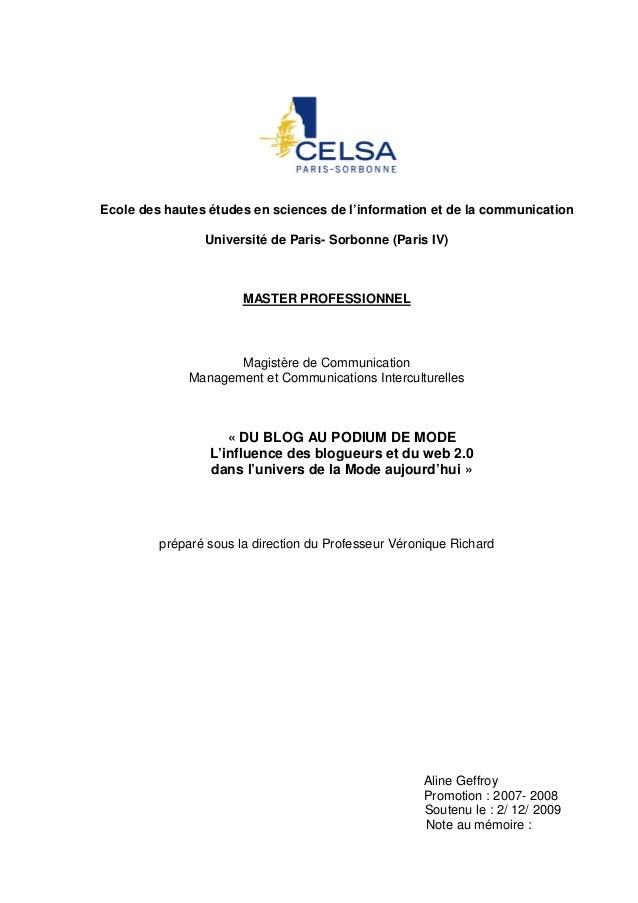 Ecole des hautes études en sciences de l'information et de la communication Université de Paris- Sorbonne (Paris IV)  MAST...