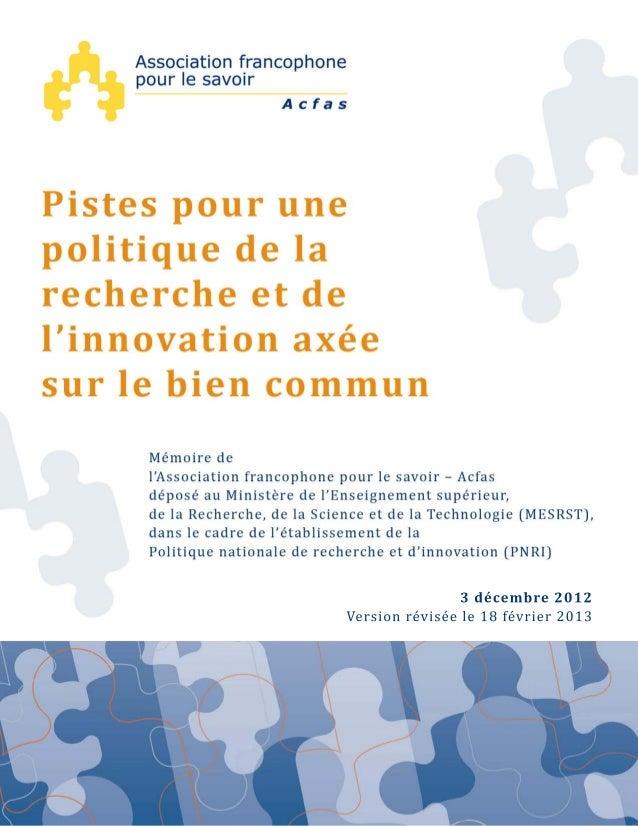 Unmémoiredel'Associationfrancophonepourlesavoir–Acfas,publiéle3décembre2012etréviséle18février201342...