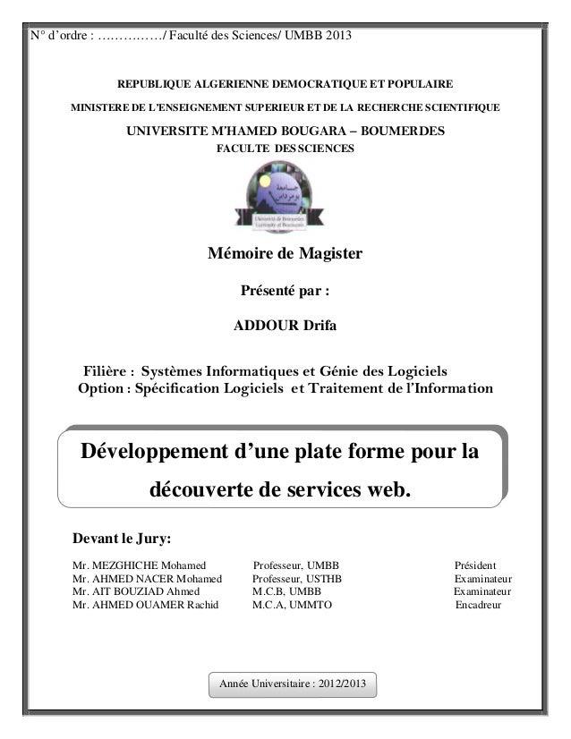 N° d'ordre : ……………/ Faculté des Sciences/ UMBB 2013  REPUBLIQUE ALGERIENNE DEMOCRATIQUE ET POPULAIRE MINISTERE DE L'ENSEIG...