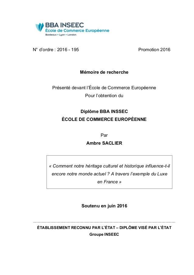N° d'ordre : 2016 - 195 Promotion 2016    Mémoire de recherche Présenté devant l'École de Commerce Européenne Pour l'ob...