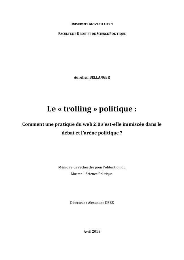 UNIVERSITE  MONTPELLIER  1   FACULTE  DE  DROIT  ET  DE  SCIENCE  POLITIQUE                Aur...