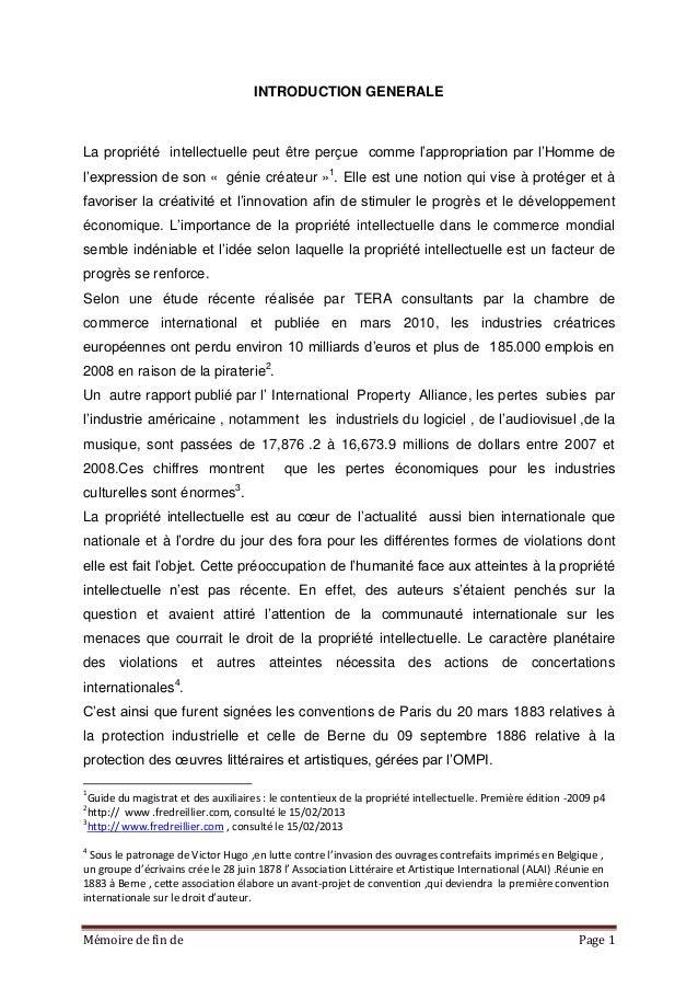 Mémoire de fin de Page 1 INTRODUCTION GENERALE La propriété intellectuelle peut être perçue comme l'appropriation par l'Ho...