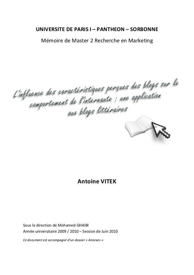 UNIVERSITE DE PARIS I – PANTHEON – SORBONNE           Mémoire de Master 2 Recherche en Marketing                          ...