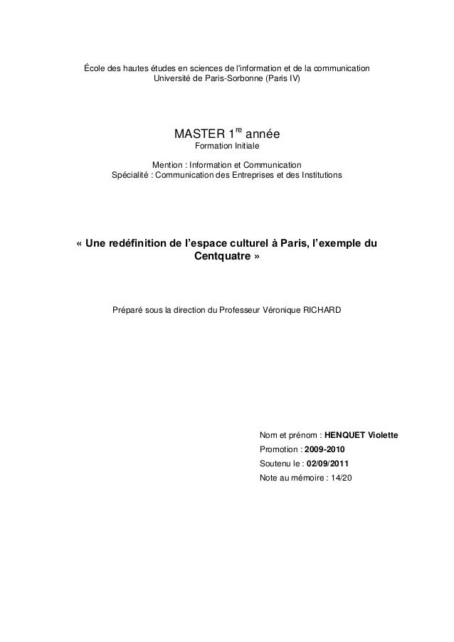 École des hautes études en sciences de l'information et de la communication Université de Paris-Sorbonne (Paris IV)  MASTE...