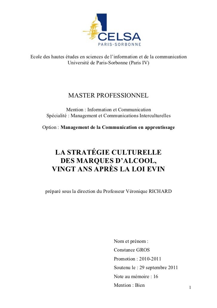 Ecole des hautes études en sciences de l'information et de la communication                  Université de Paris-Sorbonne ...