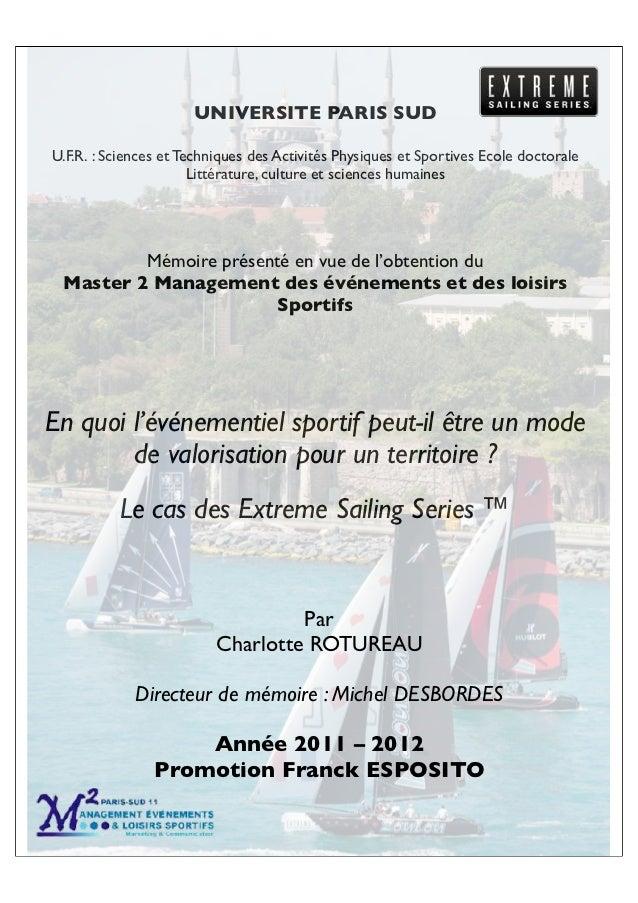 UNIVERSITE PARIS SUDU.F.R.!: Sciences et Techniques des Activités Physiques et Sportives Ecole doctorale                  ...