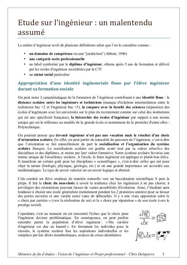 Memoire De Fin D Etude Sur Ma Vision De L Ingenieur Iteem