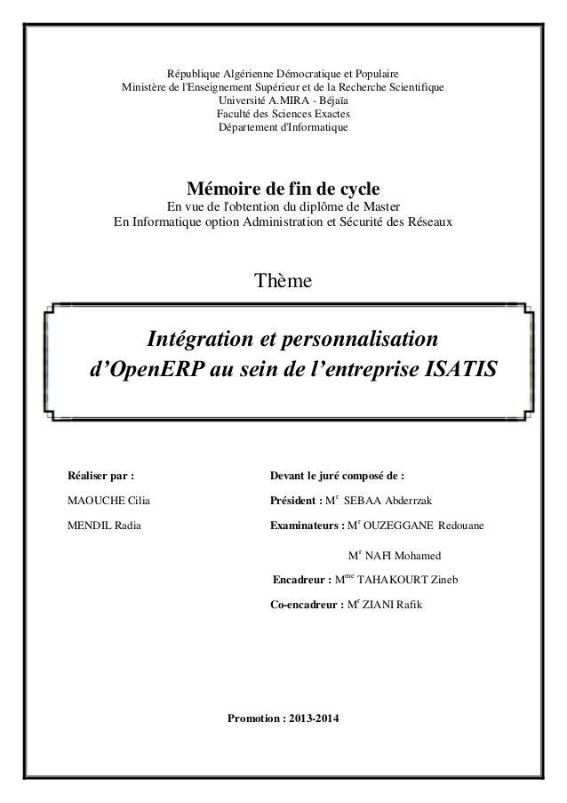 République Algérienne Démocratique et Populaire Ministère de l'Enseignement Supérieur et de la Recherche Scientifique Univ...