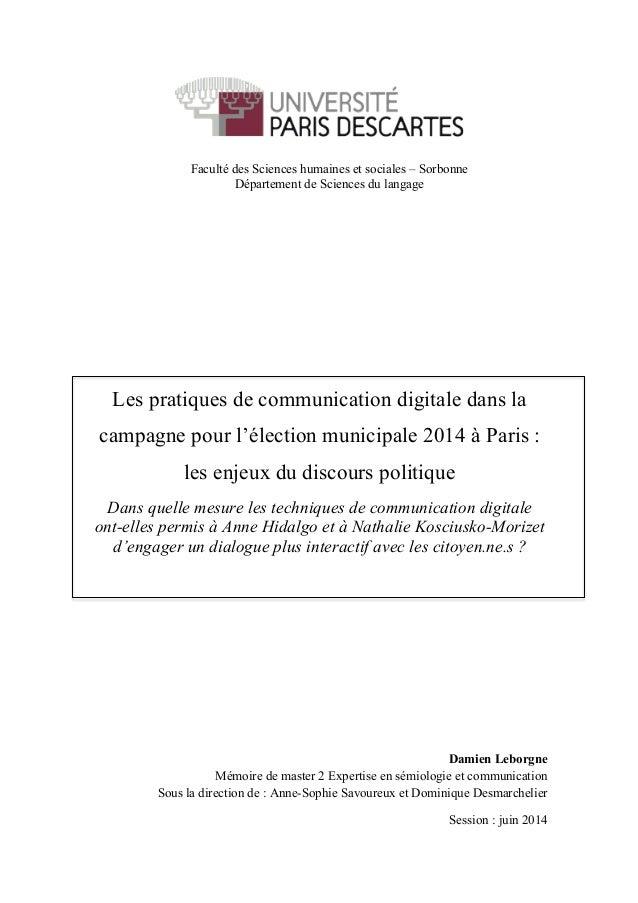 Faculté des Sciences humaines et sociales – Sorbonne Département de Sciences du langage Les pratiques de communication dig...