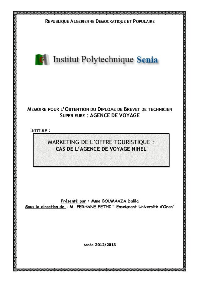 REPUBLIQUE ALGERIENNE DEMOCRATIQUE ET POPULAIRE MEMOIRE POUR L'OBTENTION DU DIPLOME DE BREVET DE TECHNICIEN              S...