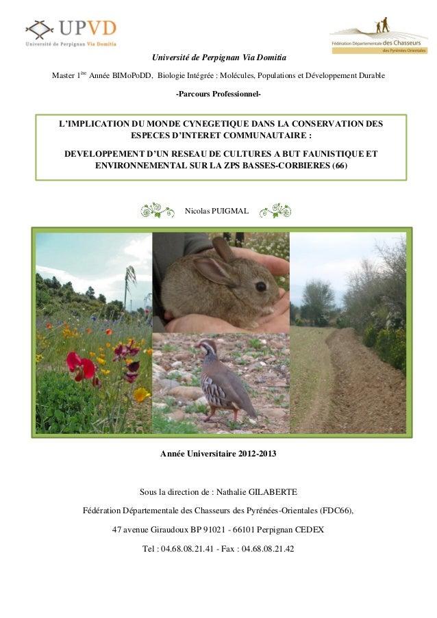 0Université de Perpignan Via DomitiaMaster 1èreAnnée BIMoPoDD, Biologie Intégrée : Molécules, Populations et Développement...