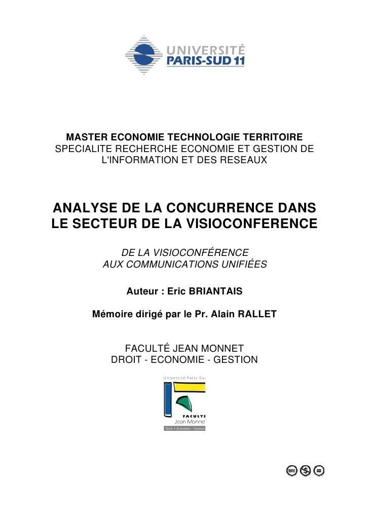 MASTER ECONOMIE TECHNOLOGIE TERRITOIRE SPECIALITE RECHERCHE ECONOMIE ET GESTION DE         L'INFORMATION ET DES RESEAUX   ...