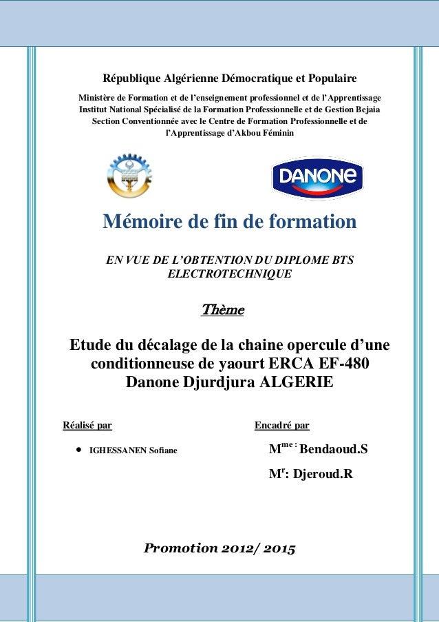 République Algérienne Démocratique et Populaire Ministère de Formation et de l'enseignement professionnel et de l'Apprenti...