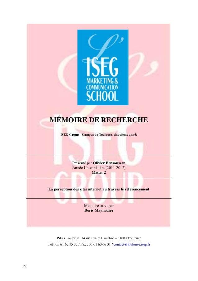 MÉMOIRE DE RECHERCHE            ISEG Group – Campus de Toulouse, cinquième année                    Présenté par Olivier B...