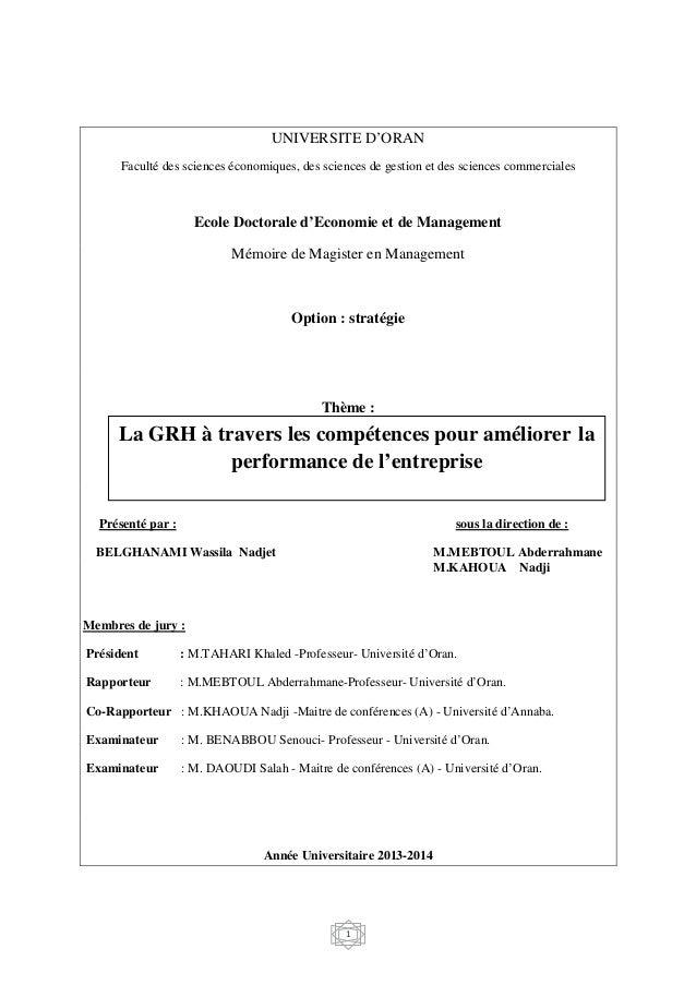 1 UNIVERSITE D'ORAN Faculté des sciences économiques, des sciences de gestion et des sciences commerciales Ecole Doctorale...