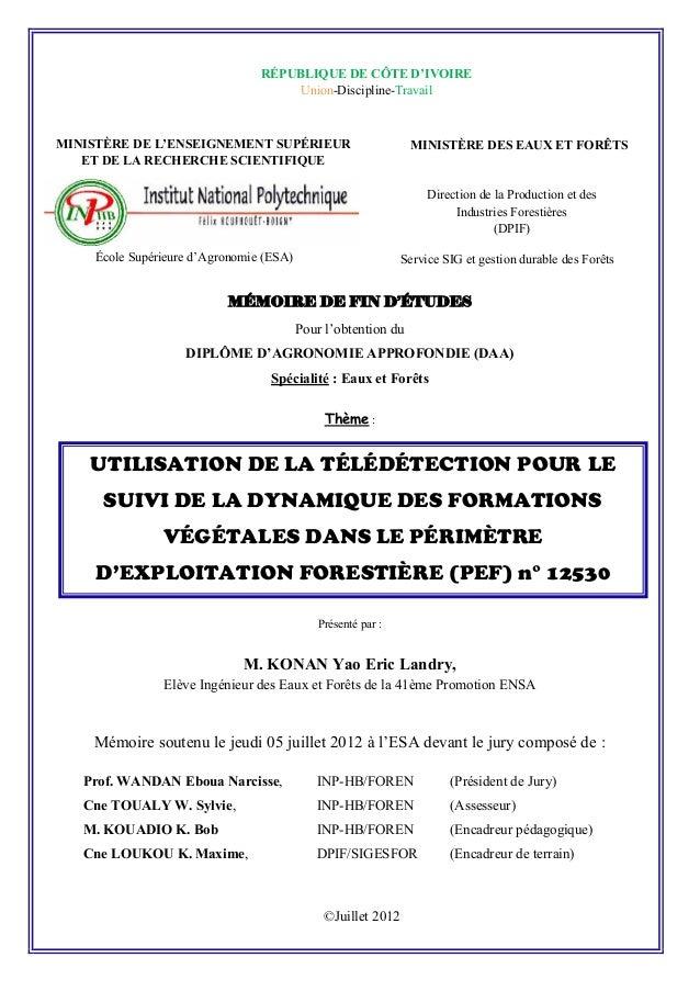RÉPUBLIQUE DE CÔTE D'IVOIRE  Union-Discipline-Travail  MINISTÈRE DE L'ENSEIGNEMENT SUPÉRIEUR  ET DE LA RECHERCHE SCIENTIFI...