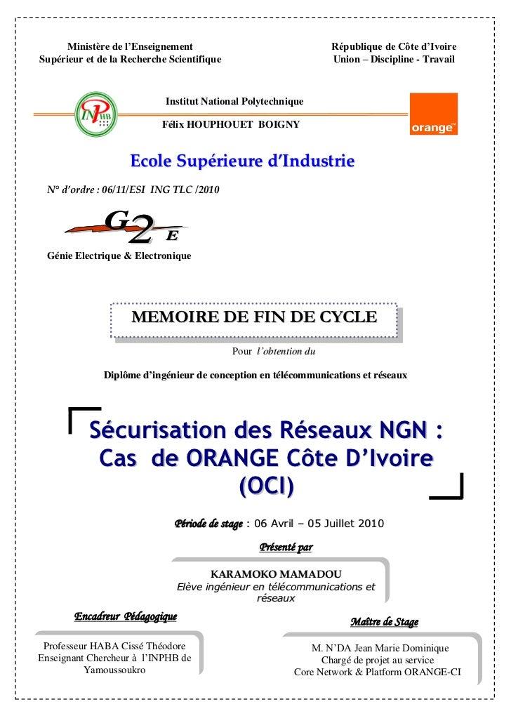 Ministère de l'Enseignement                                 République de Côte d'IvoireSupérieur et de la Recherche Scient...