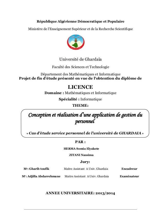 Memoire Licence Informatique Application Gestion Personnel Par Herm