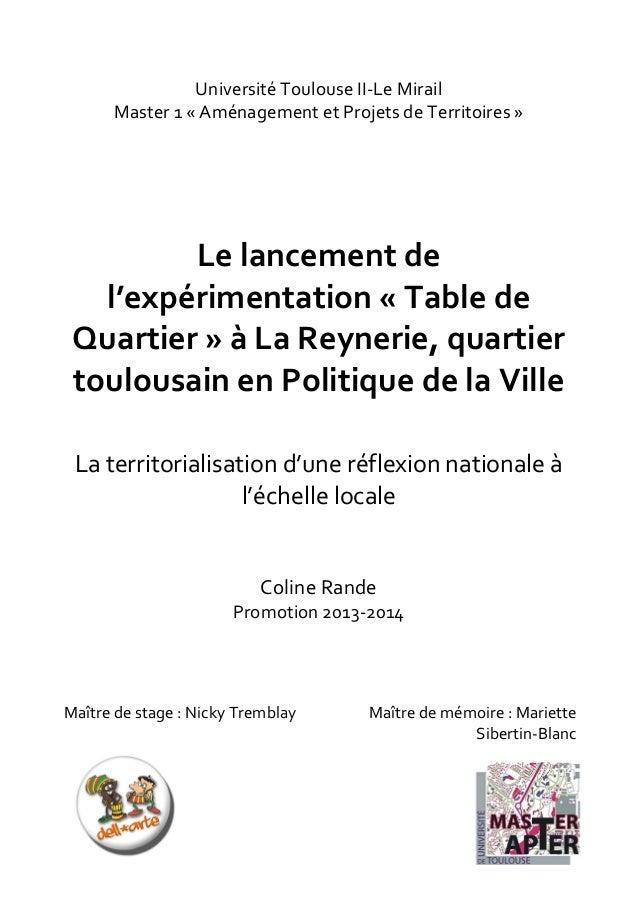 1      Université  Toulouse  II-‐Le  Mirail   Master  1  «  Aménagement  et  Projets  de  Ter...