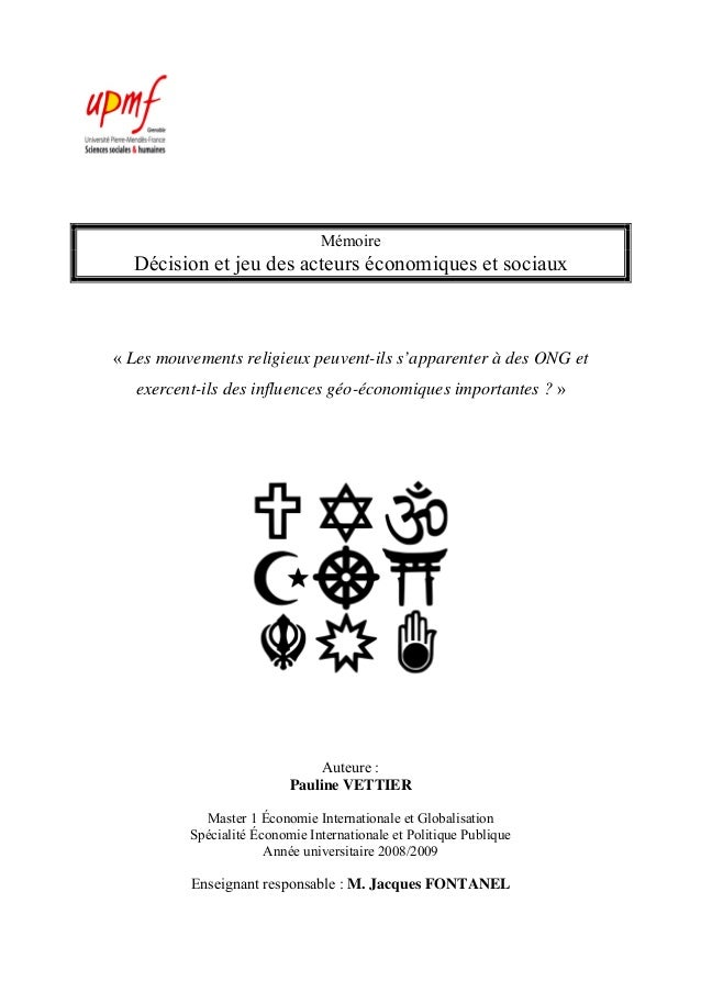 Mémoire  Décision et jeu des acteurs économiques et sociaux  « Les mouvements religieux peuvent-ils s'apparenter à des ONG...