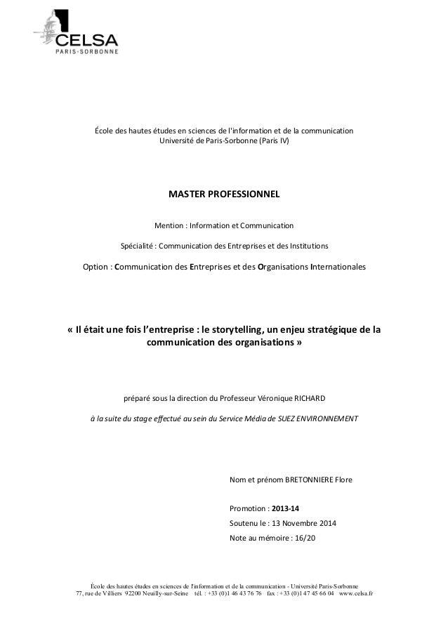 École  des  hautes  études  en  sciences  de  l'information  et  de  la  communication  Université  de  Paris-‐Sorbonne  ...