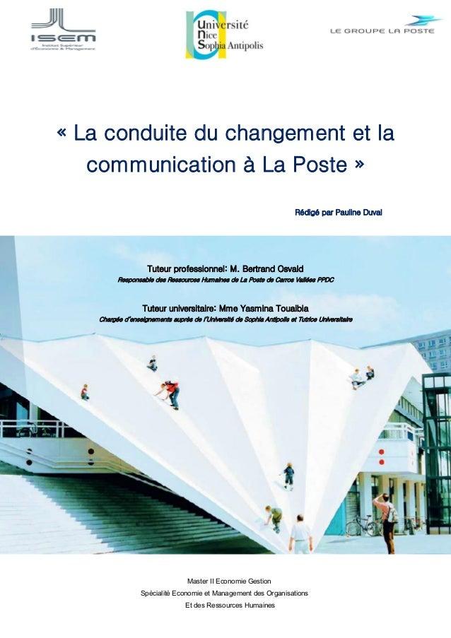 Master II Economie Gestion Spécialité Economie et Management des Organisations Et des Ressources Humaines « La conduite du...