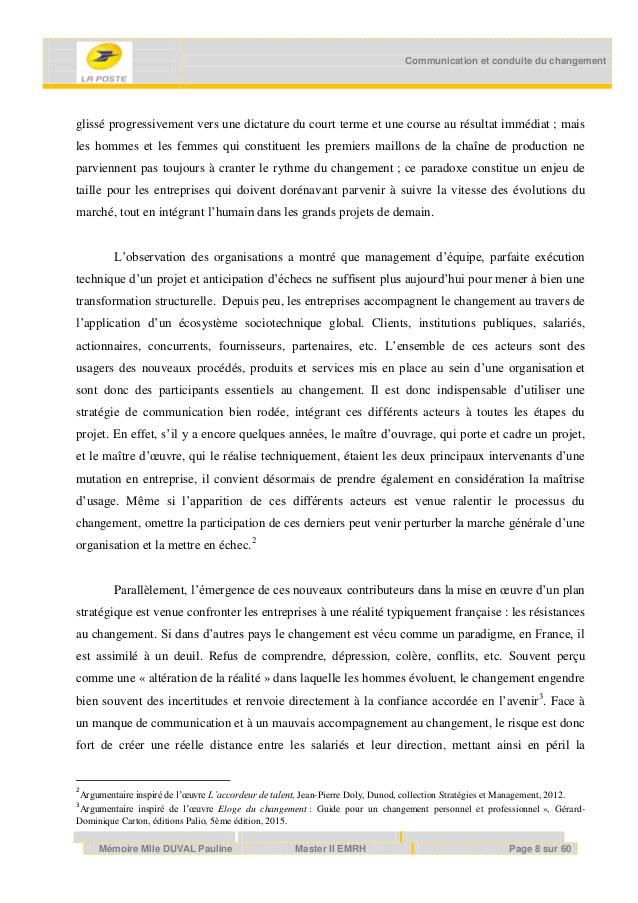 Célèbre Mémoire Master 2 Pauline Duval - Conduite du changement et Communica… OI38