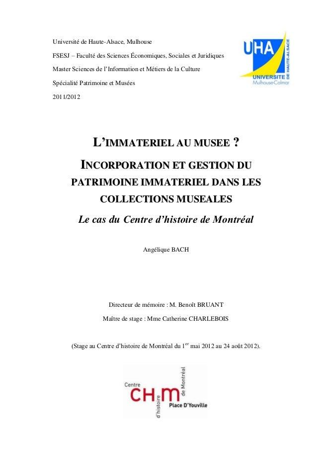 Université de Haute-Alsace, Mulhouse FSESJ – Faculté des Sciences Économiques, Sociales et Juridiques Master Sciences de l...