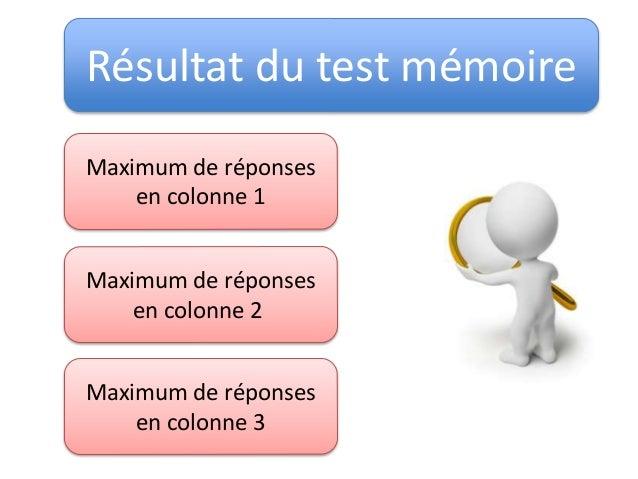 Résultat du test mémoire Maximum de réponses en colonne 1 Maximum de réponses en colonne 2 Maximum de réponses en colonne 3