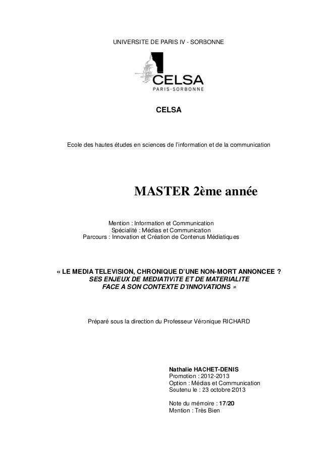 UNIVERSITE DE PARIS IV - SORBONNE U E S  CELS SA  Ecole des hautes études en sc ciences de l'informatio et de la c é on co...
