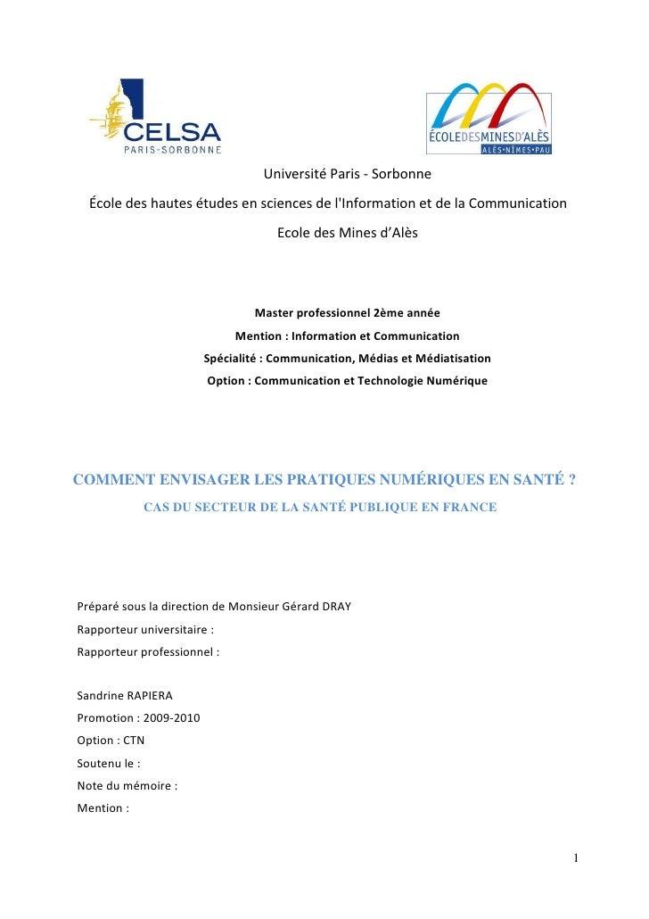 Université Paris - Sorbonne  École des hautes études en sciences de lInformation et de la Communication                   ...