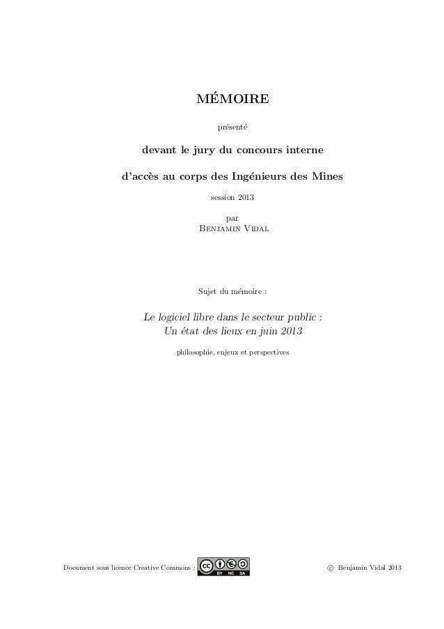 M´EMOIRE pr´esent´e devant le jury du concours interne d'acc`es au corps des Ing´enieurs des Mines session 2013 par Benjam...
