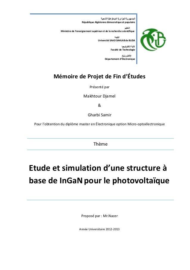 Mémoire de Projet de Fin d'Études Présenté par Makhtour Djamel & Gharbi Samir Pour l'obtention du diplôme master en Électr...