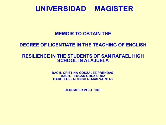 MEMOIR TO OBTAIN THE DEGREE OF LICENTIATE IN THE TEACHING OF ENGLISH …