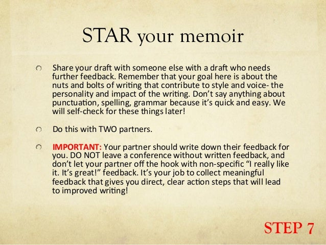 steps to writing a memoir