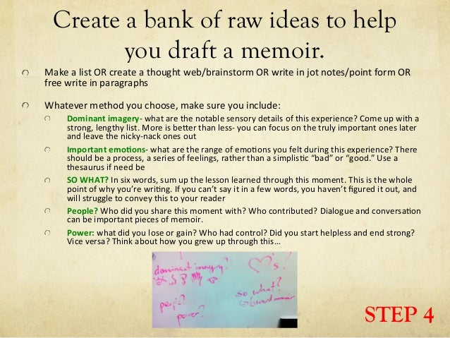 Memoir writing process steps