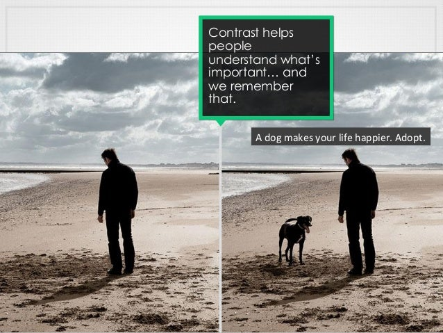 Contrast helps people understand what's important… and we remember that. A  dog  makes  your  life  happier.  ...
