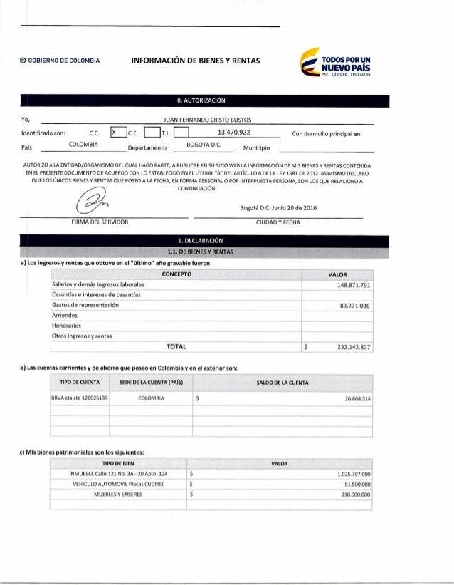 GOBIERNO DE COLOMBIA INFORMACIÓN DE BIENES Y RENTAS TODOS POR UN NUEVO PAÍS PAZ EQUIDAD EDUCACION 0. AUTORIZACIÓN Yo, JUAN...