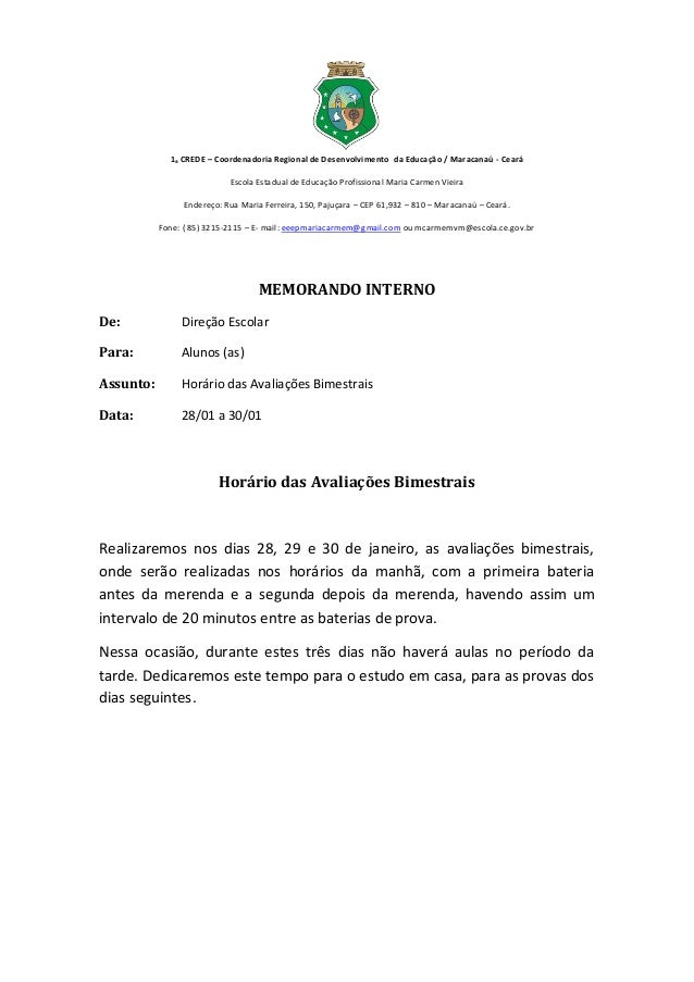 1ₐ CREDE – Coordenadoria Regional de Desenvolvimento da Educação / Maracanaú - Ceará                           Escola Esta...