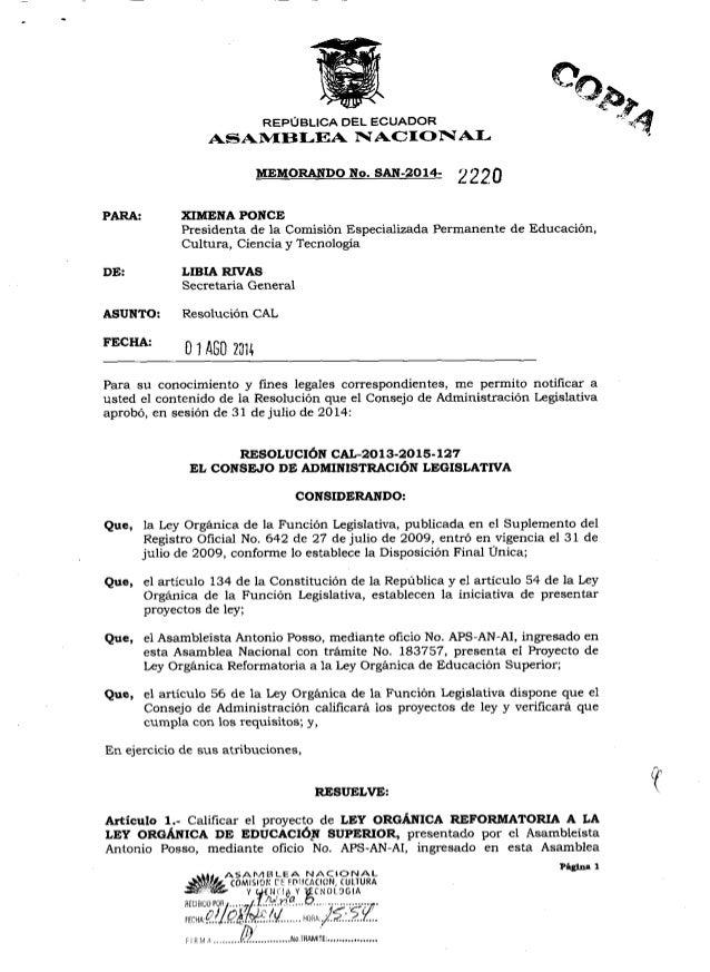 REPÚBLICA DEL ECUADOR ASAMBLEA NACIONAL  MEMORANDO No.  SAN-2014-   PARA:  XIMENA PONCE Presidenta de la Comisión Especial...
