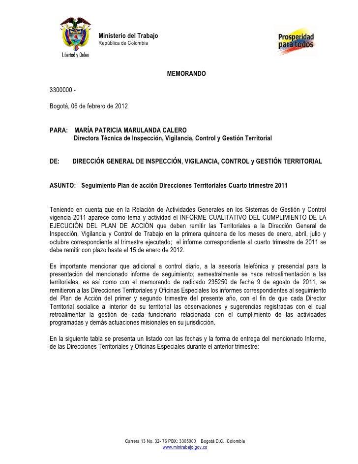 Ministerio del Trabajo                   República de Colombia                                                 MEMORANDO33...