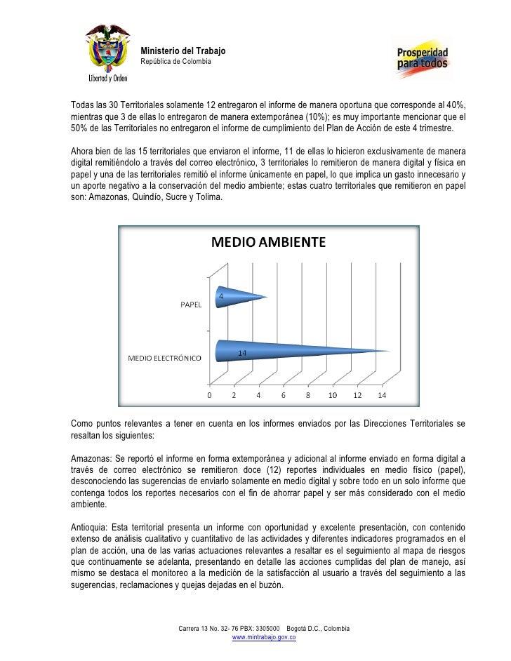 Ministerio del Trabajo                   República de ColombiaTodas las 30 Territoriales solamente 12 entregaron el inform...
