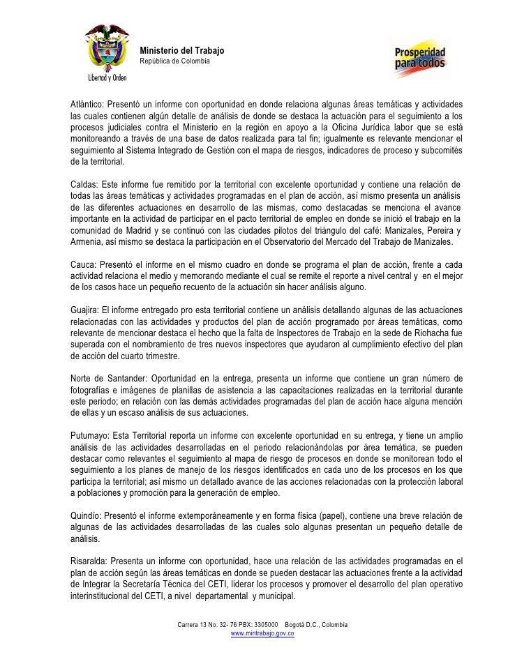 Ministerio del Trabajo                   República de ColombiaAtlántico: Presentó un informe con oportunidad en donde rela...