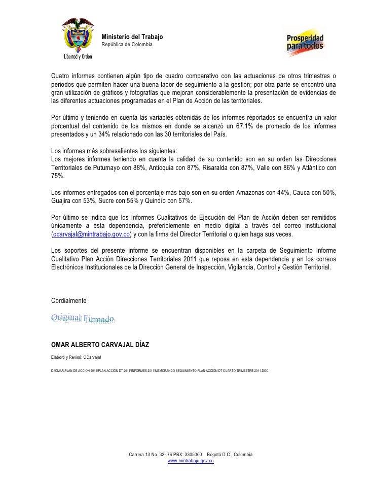 Ministerio del Trabajo                              República de ColombiaCuatro informes contienen algún tipo de cuadro co...