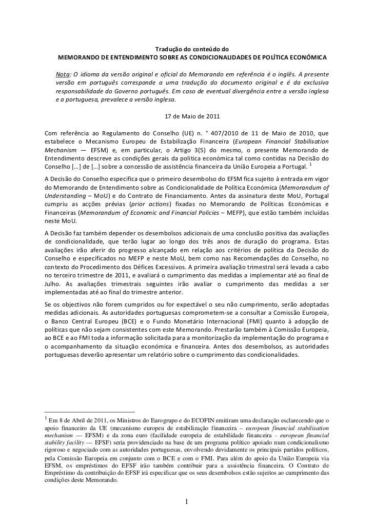 Traduçãodoconteúdodo     MEMORANDODEENTENDIMENTOSOBREASCONDICIONALIDADESDEPOLÍTICAECONÓMICA                 ...
