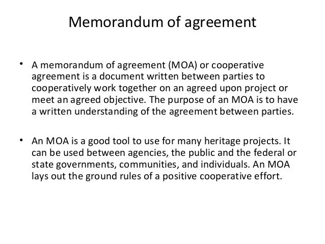 Doc638976 Sample Memorandum of Agreement Memorandum Of – Sample Agreements Between Two Parties